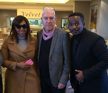 Ayanda and Sfiso Ncwane with Justin Engels of Revolver Records, August 2nd 2016
